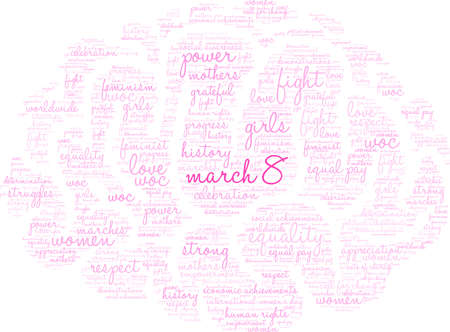 March 8 word cloud on a white background.  Ilustrace