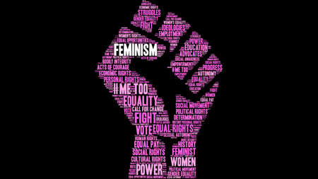Feminism word cloud on a black background.  Stock Illustratie