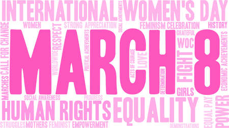 March 8 word cloud on a white background.  Illustration