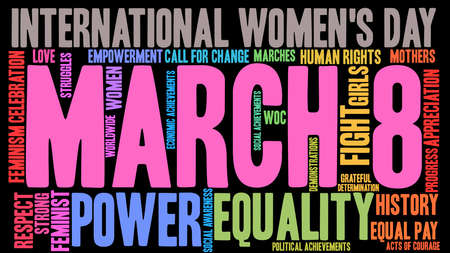 March 8 word cloud on a black background.  Illustration