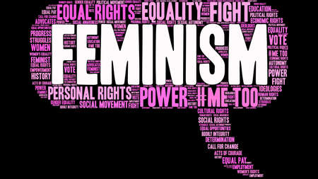 Feminism word cloud on a black background.   イラスト・ベクター素材