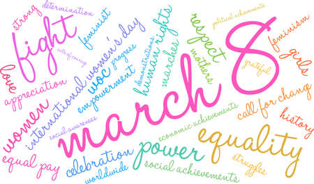 March 8 word cloud on a white background.  Ilustração