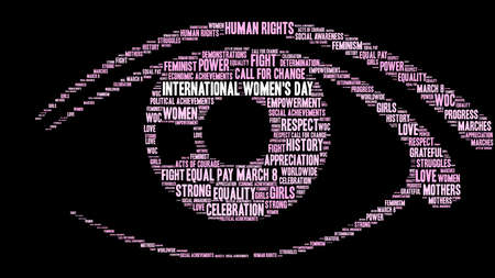 International Womens Day word cloud on a black background in a form of an eye Illustration