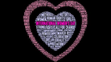 Nuvola di parola della giornata internazionale della donna su uno sfondo nero a forma di cuore