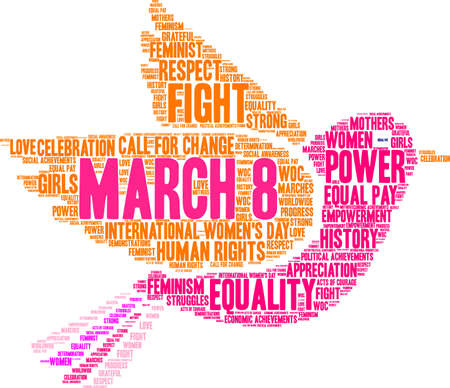 March 8 word cloud on a white dove background.