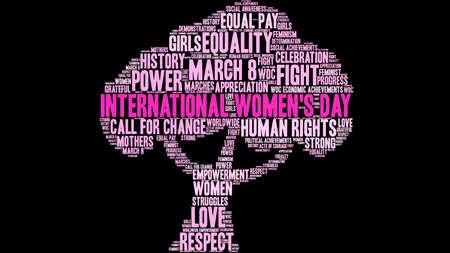 Nuvola di parola del giorno delle donne internazionali su un fondo nero dell'albero.