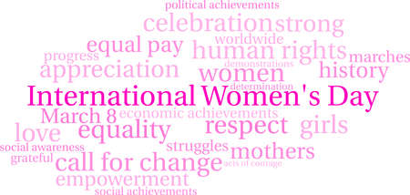 Nuvola di parola del giorno delle donne internazionali su un fondo bianco.