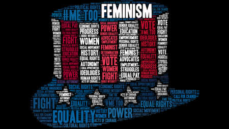 Feminism word cloud on a black background on US hat Illustration