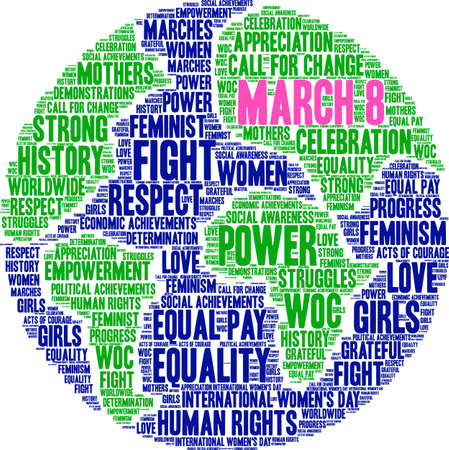 March 8 word cloud on a white background on globe