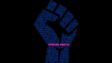 Nuvola di parola del giorno delle donne internazionali su un pugno nero del sith del fondo