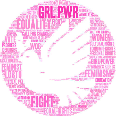 GRL PWR word cloud on a white background with dove Ilustracja