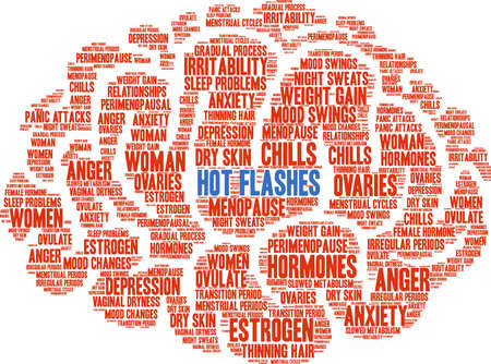 Hot Flashes word cloud on a white background.  Illustration