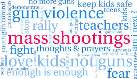 Mass Shootings word cloud on a white background.