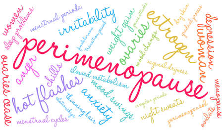 Perimenopause word cloud on a white background.  일러스트
