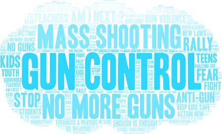 Gun Control word cloud on a white background.  Ilustração