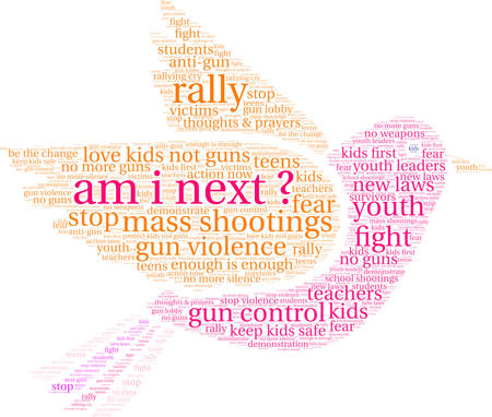 Am I Next word cloud on a white background.  Illustration