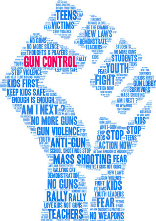 Gun Control word cloud on a white background.  Ilustração