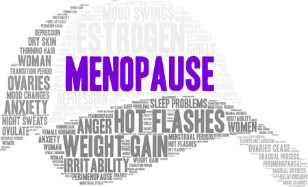 Menopause word cloud on hat on a white background.