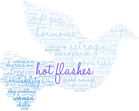 Hot Flashes word cloud on a dove on white background.
