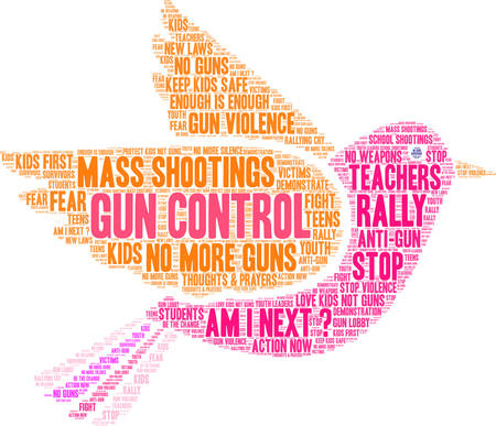 Gun Control word cloud on a white background.  Illustration
