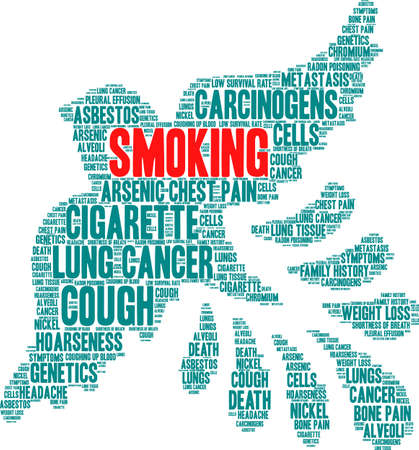 Smoking word cloud on a white background.  Illusztráció
