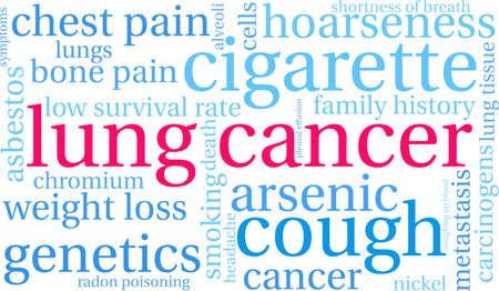 Lung Cancer word cloud on a white background.  Illusztráció