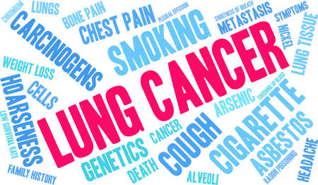 Lung Cancer word cloud on a white background. Stok Fotoğraf - 99114171