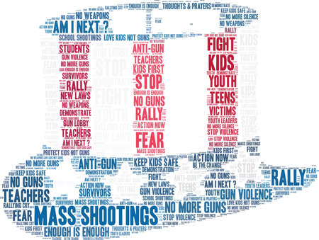 Gun Control word cloud on a white background.  Ilustracja