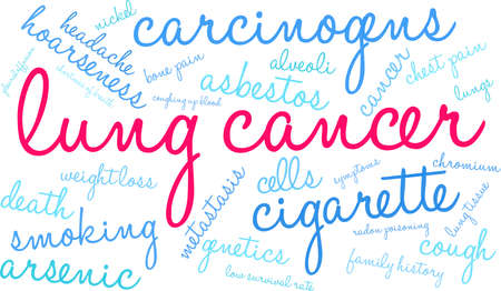 Lung Cancer word cloud on a white background. Stok Fotoğraf - 99114210