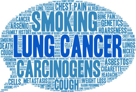 Lung Cancer word cloud on a white background.  일러스트