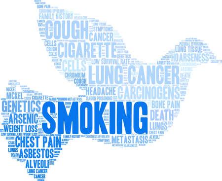 Smoking word cloud on a white background.  Ilustração