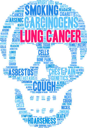 Lung Cancer word cloud on a white background.  Vettoriali
