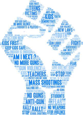 Gun Control word cloud on a white background.  向量圖像