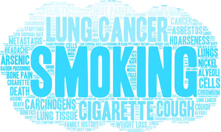 Smoking word cloud on a white background.  Stock Illustratie