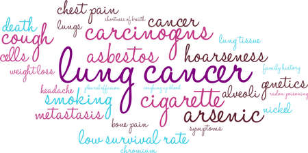 Lung Cancer word cloud on a white background.  Vectores