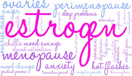 Estrogen word cloud on a white background.