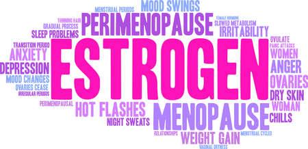 Estrogen word cloud on a white background.