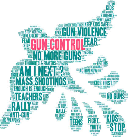 Gun Control word cloud on a white background.  Illusztráció