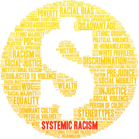 Systemic Racism word cloud on a white background.  イラスト・ベクター素材
