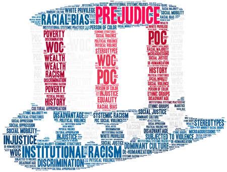 Nube de palabras de prejuicio sobre un fondo blanco. Ilustración de vector