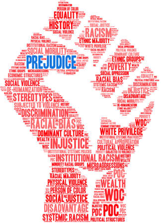 Prejudice word cloud on a white background. 스톡 콘텐츠 - 104292654