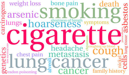 Cigarette word cloud on a white background. Stok Fotoğraf - 104292665