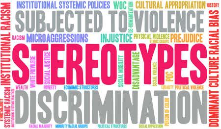 Nube de palabras de estereotipos sobre un fondo blanco.