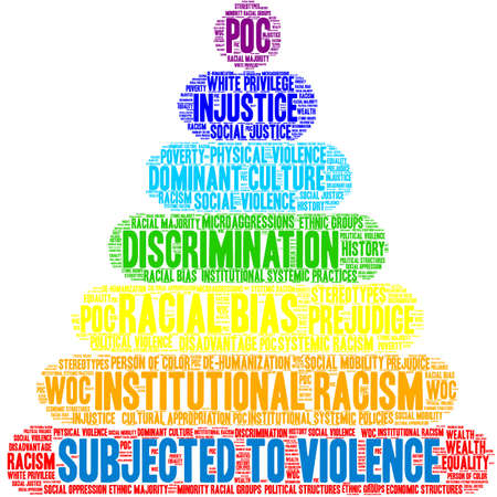 Subjected To Violence word cloud on a white background. 일러스트