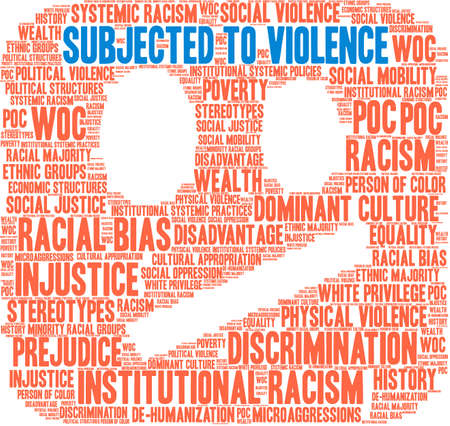 Subjected To Violence word cloud on a white background. Illusztráció