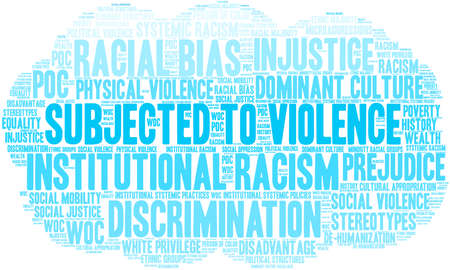 Subjected To Violence word cloud on a white background. Stock Illustratie