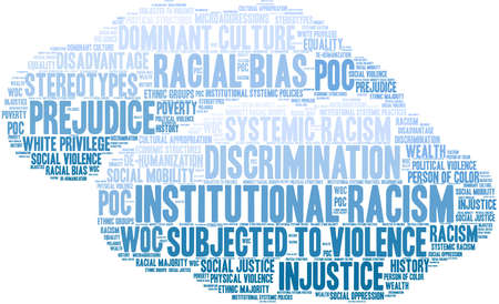 Institutional Racism word cloud on a white background. Banque d'images - 104293149