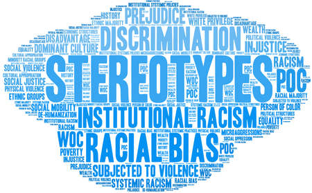 Stereotypes word cloud on a white background. Stock Illustratie
