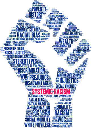Systemic Racism word cloud on a white background. Ilustrace