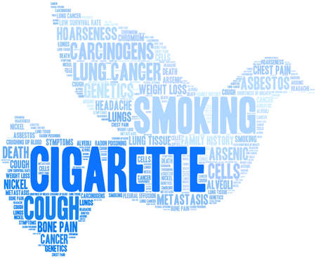 Cigarette word cloud on a white background. Stok Fotoğraf - 104293793